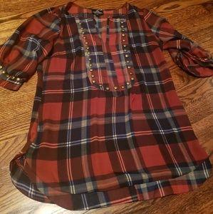 Plaid blouse with stud details